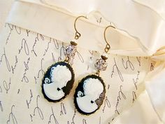 Vintage Black Cameo Rhinestone & Pearl Earrings by by Alyssabeths, $20.75
