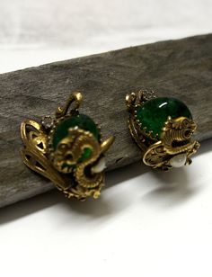 Vintage Dragon large Green Foiled Confetti by GlimpseofArt on Etsy, $125.00