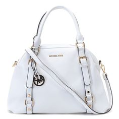 Michael Kors Medium Bedford MK Logo Monogram Satchel White Leather Trim
