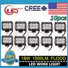 10x 4inch 18W CREE LED LIGHT BAR WORK FLOOD DRIVING BOAT UTE CAR TRUCK PODS LAMP