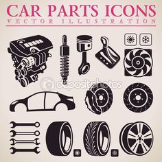 Car parts vector set. Service icons. Engine, wheel, transmission — Stock Illustration #68507839