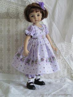 """13"""" Effner Little Darling BJD Lavender roses OOAK handmade set by JEC"""