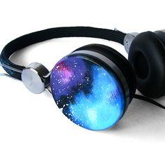 Space Galaxy Nebula Custom headphones earphones hand by ketchupize, €44.00