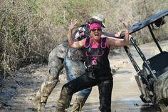 Black/Pink Womens Gator Waders getting muddy