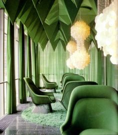 Verner Panton's 1969 interiors for the Spiegel Publishing house in Hamburg is one of his most unique interior works. Panton designed nearly everything inside, color schemes, lamps, textiles, and interior design house design de casas 1960s Interior, Home Interior Design, Interior Architecture, Interior Sketch, Classic Interior, Interior Photo, Emerald Green Rooms, Emerald City, Color Inspiration