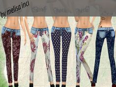 The Sims Resource: Floral Jeans by Melisa-Inci • Sims 4 Downloads