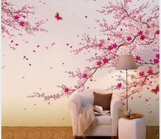 Cherry Blossom Wall Decal-Pink Flower Wall Sticker-Butterfly Wall Art-Vinyl Cherry Blossom Decals For Living Room-Florals Wall Murals Butterfly Wall Art, Flower Wall, Wall Stickers Home Decor, Retro Home Decor, Wall Wallpaper, Bedroom Wallpaper, Decoration, Wall Design, Wall Murals
