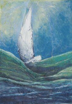 Voilier, Techniques mixtes sur toile, 50 x 70 cm, vendu