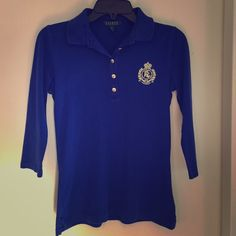 Ralph Lauren Blue Polo Shirt Used Ralph Lauren. No tear. No missing buttons. Size small. Great for casual sports wear! Ralph Lauren Tops