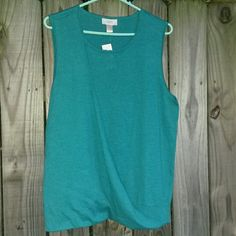 LOFT lightweight sleeveless sweater Brand new with tags. Never worn. Teal colored sleeveless sweater. Faux wrap front, full coverage, flowy look for a very flattering fit! Lightweight and soft material. Size is XL. LOFT Sweaters Crew & Scoop Necks