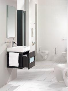 Bathroom , Choosing Small Bathroom Sinks : Modern White Small Bathroom With Dark Wood Vanity With One Drawer And Small Bathroom Sinks In White Finish