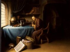 Gerrit Dou - An Old Man Lighting his Pipe in a Study