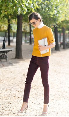 Burgundy skinny jeans and mustard yellow sweater, add boots for Fall