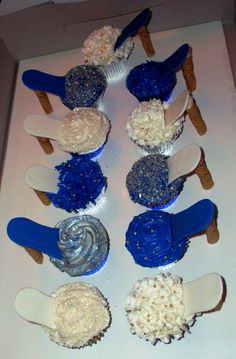High Heel Shoe Cupcakes... Cupcakes, Milano cookies, and pretzel sticks. Super easy and super cute idea for bridal showers.
