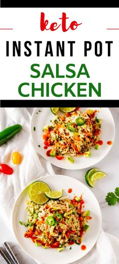 Keto Instant Pot Salsa Chicken is so easy to make and the perfect weeknight meal.  Using your pressure cooker means it takes just 5 minutes of hands-on time to make this creamy, dreamy chicken.  You can use fresh or frozen chicken breast or thighs.  #kickingcarbs #instantpot #keto #ketoinstantpot #salsachicken Gluten Free Recipes For Breakfast, Healthy Gluten Free Recipes, Gluten Free Dinner, Low Carb Recipes, Dinner Recipes, Healthy Chicken Recipes, Beef Recipes, Salsa Chicken, Keto Chicken