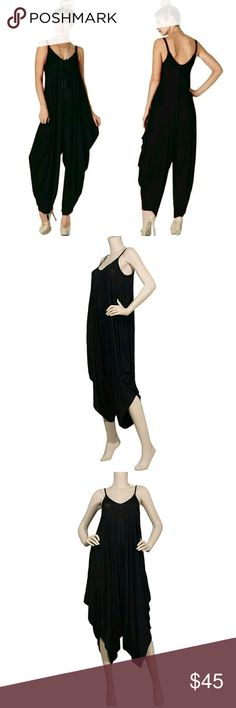 ⭐NEW! Best Selling Black Romper Jumpsuit You'll want to live in this!  Black  V-Neck  Super Comfy  Spaghetti Straps  95% Rayon 5% Spandex   Beautiful Quality  Made in the U.S.A  S-M-L   NWOT Directly From Vendor   ▪ Price is Firm  ▪ No Trades  ▪ Fast Shipping Moda Ragazza  Pants Jumpsuits & Rompers