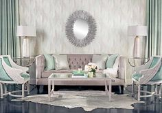 Seafoam Dream: Colors that speak softly make a great impression in this sea foam and silver room. Beckett Sofa, $1,749. Wallpaper Villa Flora Modern iKat VB10509