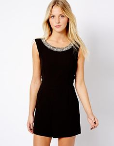 Image 1 of New Look Embellished Neckline Playsuit
