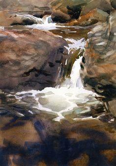 The Athenaeum - Mountain Waterfall (John Singer Sargent - ) 1909-1910 #LandscapingWatercolor