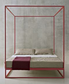 ASHA BALDAQUIN BED; PAINTED TUBULAR STEEL FRAME