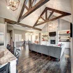 home decorations & design Hearth Room with Wood Beams Lawrence Bedding Collections and Ensembles Art Vaulted Living Rooms, Home Living Room, Living Room Kitchen, Küchen Design, House Design, Modern Design, Wood Beams, Home And Deco, Interior Exterior