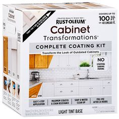 Cabinet Transformations® is a cost-effective coating system that changes the look of old, worn cabinets into beautiful hand-crafted cabinetry without replacing. Rustoleum Cabinet Transformation, Cabinet Makeover, Countertop Transformations, Home Upgrades, Painting Kitchen Cabinets, Diy Kitchen, Kitchen Ideas, Interior Paint, Home Projects