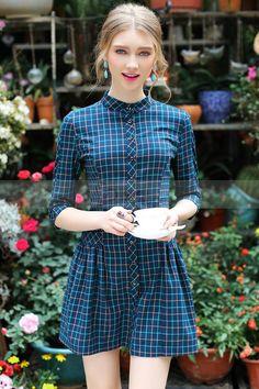 Mulher vestido xadrez com mangas colarinho e 3/4 - pronto a vestir - vestidos mulheres - Chouchourouge