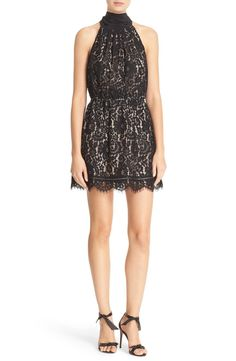 Crushing on this darling lace dress designed to show off pretty shoulders and legs. Pair with chic black heels to create the ultimate look.