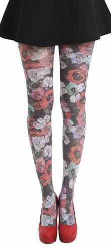 Black & Multicolor Spring Floral Poppy Tights