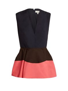 Delpozo Colour-block peplum cotton top