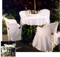 romantic slipcovers for resin chairs. Chair Makeover, Furniture Makeover, Patio Chairs, Outdoor Chairs, Outdoor Chair Covers, Lanai Patio, Plastic Alternatives, Magical Home, Backyard Cottage