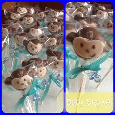 Monkey cake pops are a cute idea to give your guests at your monkey baby shower party.  You can place them on the tables so your guests can grab one and take it home.