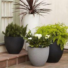 Round Planter   west elm / $99 - $159 / Lightweight, indoor-outdoor - fiberstone black & white / Ficonstone gray