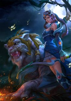 Mirana and big cat Art By Derrick Song