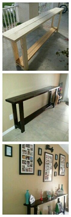 I wanted a wood entry table without breaking the bank! I was searching for one t. Courtney Jacks Entry way I wanted a wood entry table without breaking the bank! I was searching for one that was long enough for my entry way and have the rus Pallet Furniture, Furniture Projects, Home Projects, Painting Furniture, Backyard Projects, Pallet Projects, Wood Entry Table, Entry Tables, 2x4 Table
