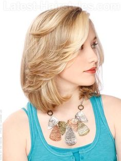 Blonde Bob Medium Style with Cute Flip - Side View