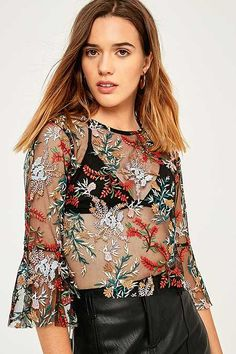 Pins & Needles Forest Floral Embroidered Mesh Flute Sleeve Top