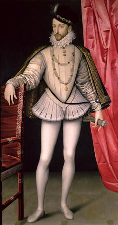 """Portrait of Charles IX of France"" - Northern Renaissance Royalty Men's Fashion. Wearing a codpiece, trunk hose, and a jacket with a high collar surrounded by a small ruff. Italian Renaissance Dress, Renaissance Mode, Renaissance Fashion, Renaissance Clothing, Tudor Fashion, Historical Costume, Historical Clothing, Leg Of Mutton Sleeve, Renaissance Portraits"