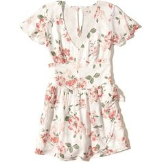 Hollister Woven Wrap-Front Romper ($40) ❤ liked on Polyvore featuring jumpsuits, rompers, white floral, tie-dye rompers, floral rompers, floral romper, floral print romper and playsuit romper