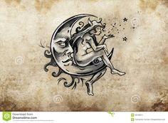 Fairy Sitting On The Moon, Tattoo Sketch, Handmade Design Over V Stock Illustration - Illustration of arabesque, pattern: 39136311 Tattoo Mond, 3 Tattoo, Vintage Moon, Vintage Paper, Handmade Design, Tattoo Sketches, Fairy, Illustration, Image