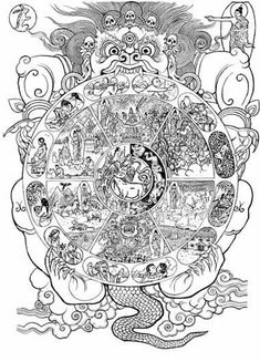 An article exploring samsara, the conditioned wheel of life, and how Buddhism use these ideas to describe reality. Religious education resources on Buddhism for students. Tibetan Buddhism, Buddhist Art, Buddhist Wheel Of Life, Tibet Art, Alchemy Art, Thangka Painting, Buddhist Philosophy, Japan Painting, Line Drawing