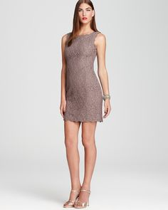 Adrianna Papell Lace Dress - Sleeveless Square Neck Short   Bloomingdale's