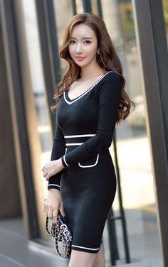 Morpheus Boutique  - Black V Neck Knitted Dress, $139.99…