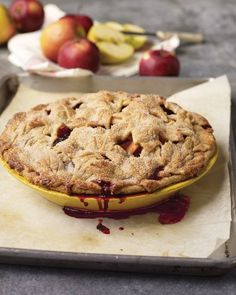 """Apple-Blackberry Pie with """"Fall Leaves"""" Pate Brisee - Martha Stewart Recipes - I've made this pie a few times. It is tart but still remains a major crowd pleaser! Blackberry Pie, Blackberry Recipes, Apple Pie Recipes, Tart Recipes, Dessert Recipes, Cooking Recipes, Apple Desserts, Fall Desserts, Cooking Ideas"""