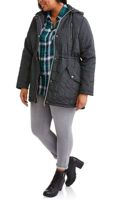 514bb6e081a Women s Plus-Size Quilted Anorak Jacket with HoodWomen s Plus-Size Quilted  Anorak Jacket with Hood