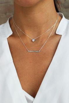 #daintynecklace #barnecklace #hammeredsilver #layeringnecklace #handmadejewelry #minimalist #minimalistnecklace #madeintheusa