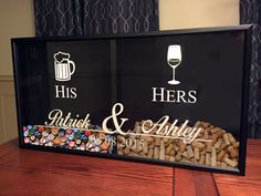Mr and Mrs Wine Cork and Beer Cap Tab Holder His and by Benzarina