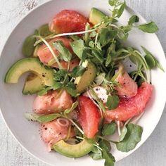 grapefruit, salmon, and avocado salad and other avocado salads