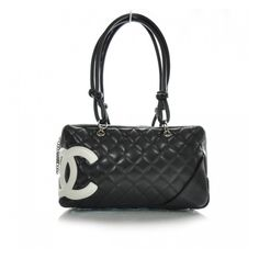 CHANEL Cambon Quilted Bowler Black White found on Polyvore
