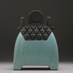 Ceramic sculptural art vessel, Raku Lunar Vessel,handmade,home decor,green